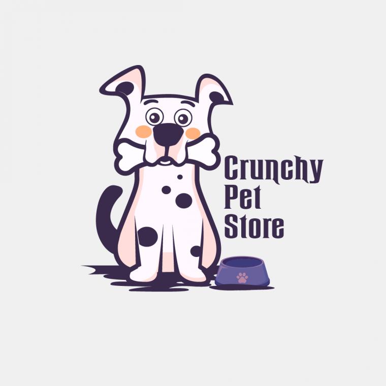 Crunchy Pet Store Logo Design